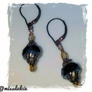 Victorian Earrings Dangle Faceted Black Silver